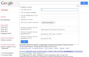 Google Scholar geavanceerd zoeken
