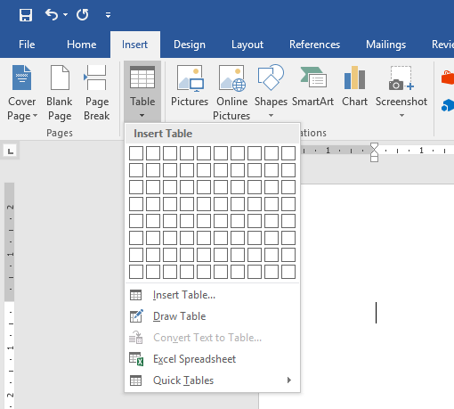 how to create misaligned tables in word 2016