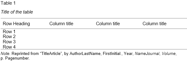 how to make an apa table in word